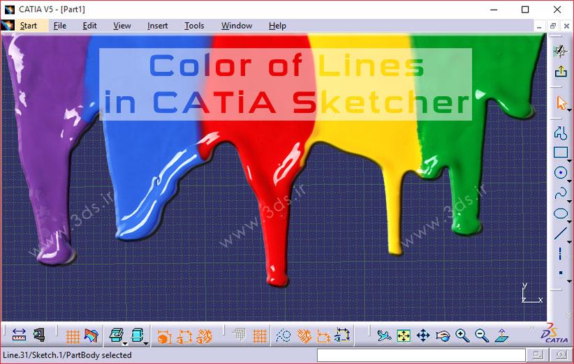 رنگ ها در محیط sketcher کتیا