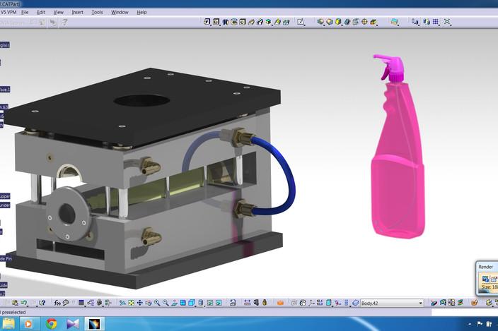 پروژه قالب بطری شیشه پاک کن در کتیا
