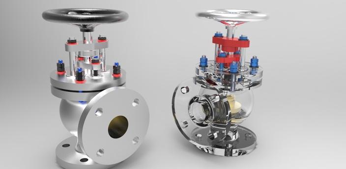 پروژه مدل سازی شیر زاویه دار