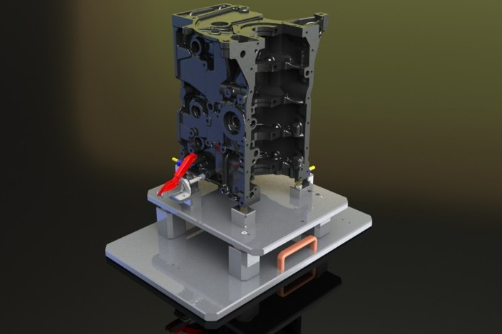 پروژه مدلسازی فیکسچر سیلندر ماشین